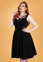 50s Serena Cross Swing Dress in Black