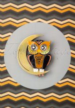 60s A Moon With A View Owl Brooch