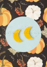 60s Crescent Moon Marble Stud Earrings in Yellow