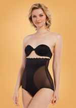 DSIRED Scallop Sheer High Brief in Black