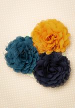 70s Hair Flowers Set in Blue Honey