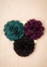 70s Hair Flowers Set in Black Plum