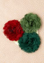 70s Hair Flowers Set in Green and Warm Red