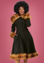 30s Pearl Coat in Black Wool