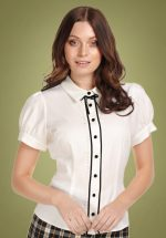 40s Bryonny Blouse in Ivory