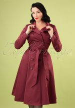 40s Korrina Swing Trench Coat in Burgundy