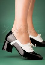 60s The Modernist Two Tone Lace Shoes in Black and White