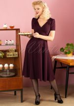 40s Vivienne Hollywood Circle Dress in Crievo Aubergine