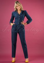 40s Classic Long Sleeve Jumpsuit in Dark Denim