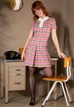 60s Harper Check A-Line Dress in Pink