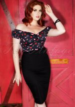 50s Dolores Shoes Love Top in Black