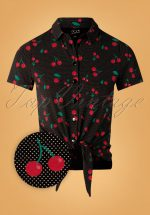 50s Cherry Dots Short Blouse in Black