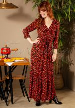 70s Robe Réusitte Maxi Dress in Black and Red
