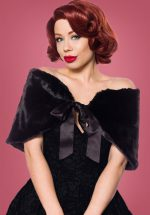 40s Aggy Faux Fur Bolero Cape in Black