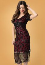 20s Troyes Flapper Dress in Red and Black