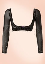 Jolie Long Crystal Mesh Sleeves in Black