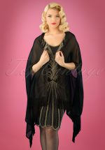 20s Abigail Fringe Cape Shawl in Black