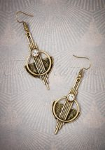 20s Art Deco Brass Earrings in Gold