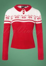 40s Katika Candy Jumper in Red and White
