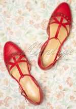 50s Valentina T-Strap Flats in Deep Red