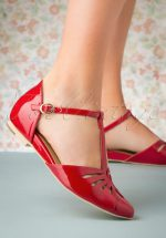50s Firenze T-Strap Flats in Deep Red