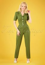 40s Classic Jumpsuit in Olive Green