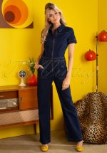 70s Garbo Denim Jumpsuit in Ink Blue
