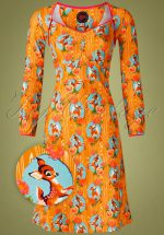 60s Lala Kitschy Deer Dress in Orange