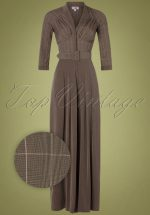 40s Gigi Tartan Jumpsuit in Brown
