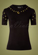 50s Celeste Star Sweater in Black