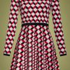 60s Celie Geometric Dress in Red and Black