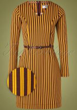 60s Feel The Music Dress in Brown and Yellow