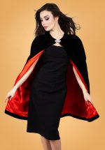 50s Cameron Velvet Vamp Cape in Black