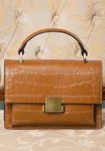 40s Modern Retold Crocodile Satchel Bag in Tan