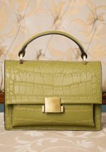 40s Modern Retold Crocodile Satchel Bag in Olive