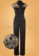 50s Bianca Satin Jumpsuit in Black
