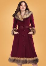 50s Berenice Faux Fur Swing Coat in Burgundy