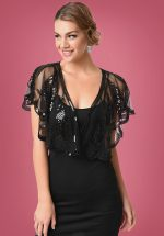 20s Sequin Flapper Capelet in Black