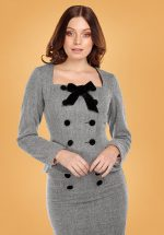 40s Agatha Herringbone Jacket in Black and White