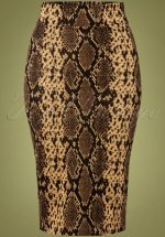 50s Edyth Snake Pencil Skirt in Brown