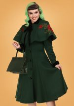 40s Claudia Coat And Floral Cape in Green Wool