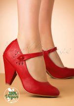 50s Allie Mary Jane Pumps in Red