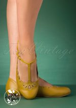 50s Maila T-Strap Flats in Yellow