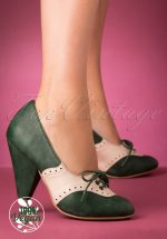 40s Carole Shoe Booties in Green