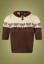 40s Berit Bow Jumper in Brown and Cream