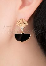 20s Art Deco Moon Earrings in Gold and Black