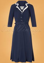 40s Lisa Mae Dress in Navy and Cream