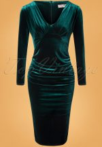 50s Laverna Pencil Dress in Bottle Green