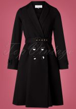 60s Aubrey Trench Coat in Black
