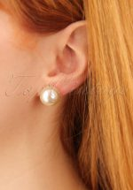 50s Barbara Big Pearl Earrings in Cream
